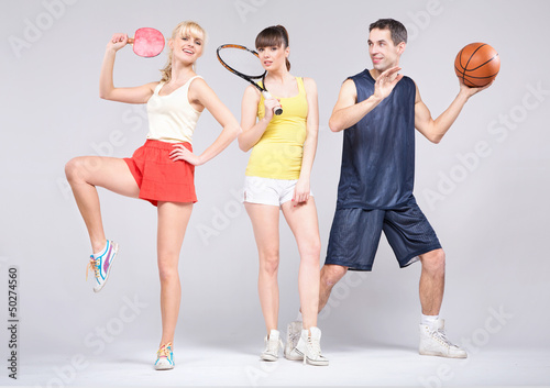 Teenagers practicing some sports during spring
