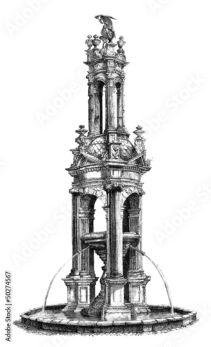Leinwanddruck Bild Fountain - Renaissance - 16th century