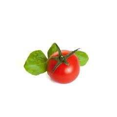 Tomate  mit Basilikum Freisteller