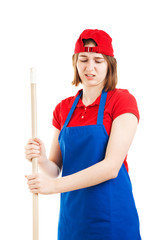 Disgusted Worker Mopping Up