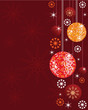 Noel background with shiny disco balls and ornaments.