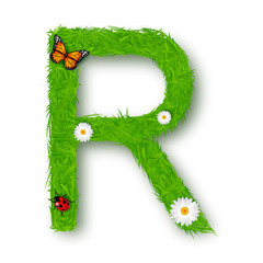 Grass letter R on white background