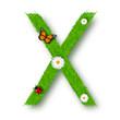 Grass letter X on white background