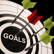 Goals On Dartboard Shows Aspired Objectives
