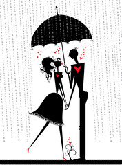 Couple of lovers are hiding from the rain under an umbrella