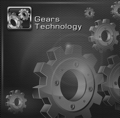Metallic gears on dark mesh background