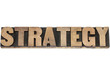 strategy word in wood type