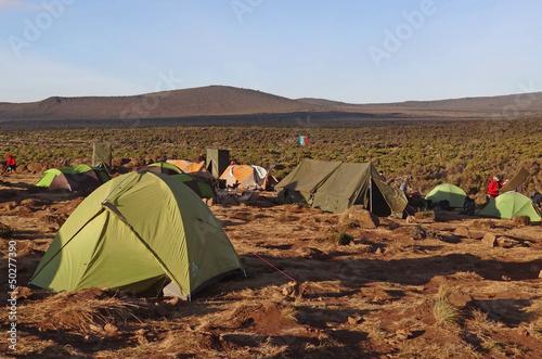 Crépuscule sur un campement du Kilimanjaro