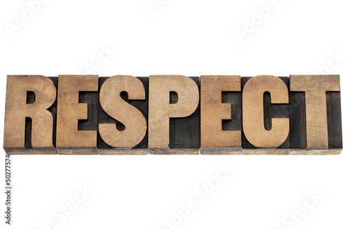 respect word in wood type