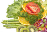 Close up fusion fruit salad,vetgetable and fruit salad poster