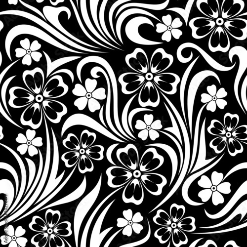 Foto op Canvas Bloemen zwart wit Seamless floral pattern. Vector illustration.