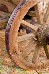Rustic old weathered western horse carriage vehicle wheel