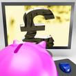 Pound Symbol On Monitor Showing Kingdom Wealth