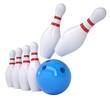 Bowling ball knocks down pins