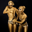 Coloring. Comical, Humorous Women. Gold Make Up. Expression