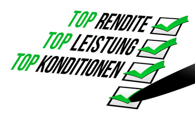 Rendite, Leistung, Konditionen - Checkliste