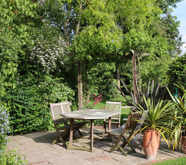 Patio area of an  English back Garden
