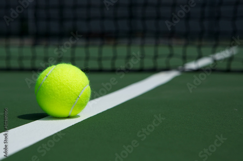 Tennis Ball with Net in the Background