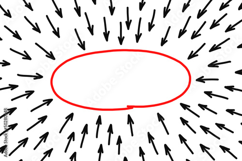 Blank red oval shape with many black arrows