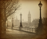Fototapety Vintage Retro Picture of Big Ben / Houses of Parliament (London)