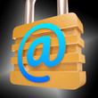 At Sign Padlock Shows Secure Internet Mail
