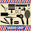 Vintage barber and hairdresser silhouette set