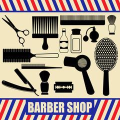 Vintage barber and hairdresser silhouette set