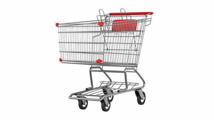 empty shopping cart loop rotate on white background
