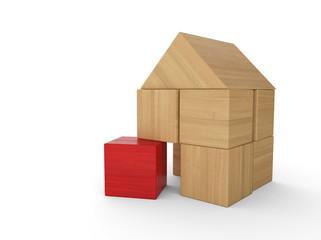 Holzhaus Baustein Konzept - Rot