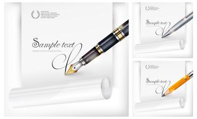 Fountain pen, paper sheet & text