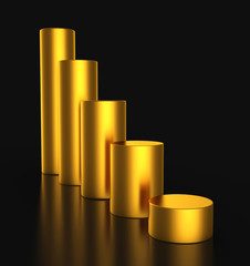3D Abwärtstrend Diagramm Gold Schwarz