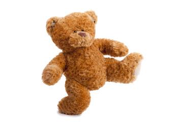 oso de peluche corriendo aislado