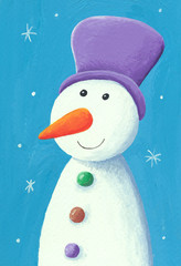 Cute snowman with purple pot
