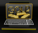 Gold On Laptop Showing Treasury