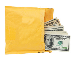 yellow mailing envelope with dollars on a white background
