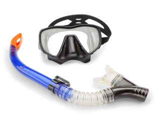 Mask and snorkel diving and spearfishing. On a white background.