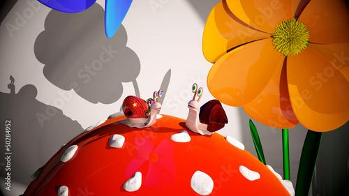 slimaki,-grafika-3d,-kwiaty,-bajki
