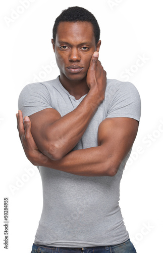 Black Fashion Model with Arms Crossed