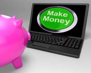 Make Money Button On Laptop Showing Investments