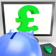 Pound Symbol On Monitor Shows Britain Wealth
