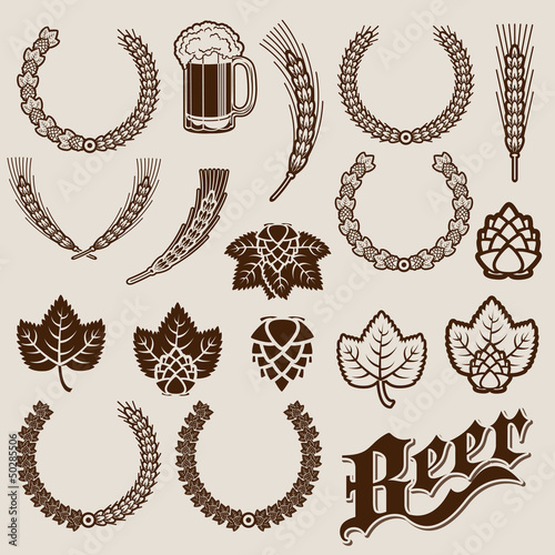 Beer Ingredients Ornamental Designs