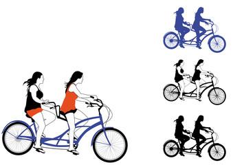 Radfahrerinnen Tandem Freizeit