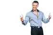 Successful gesturing man with mobile phone, isolated over white