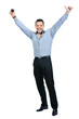 Full body of happy gesturing young smiling business man with mob