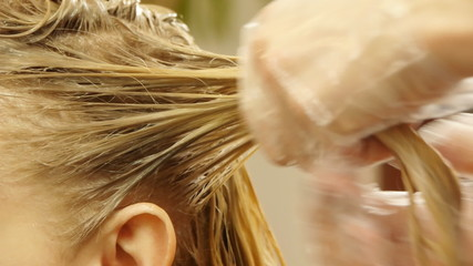 Closeup view during hair dyeing