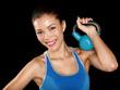 Fitness cross fit woman holding kettlebell