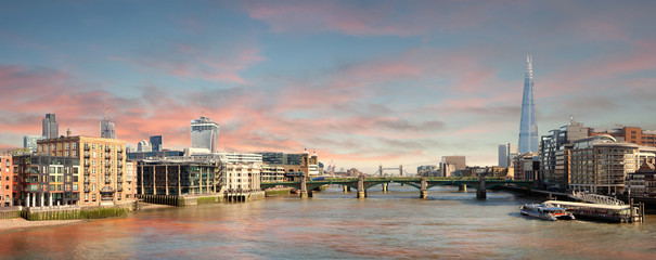 Panorama of London - view from Millenium Bridge