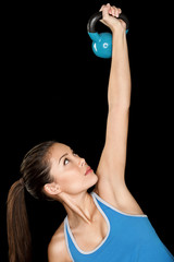 Fitness woman training crossfit with kettlebell