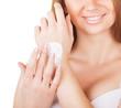 Cream on the women hand