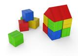 Wir bauen uns ein Haus aus bunten Bauklötzen 1